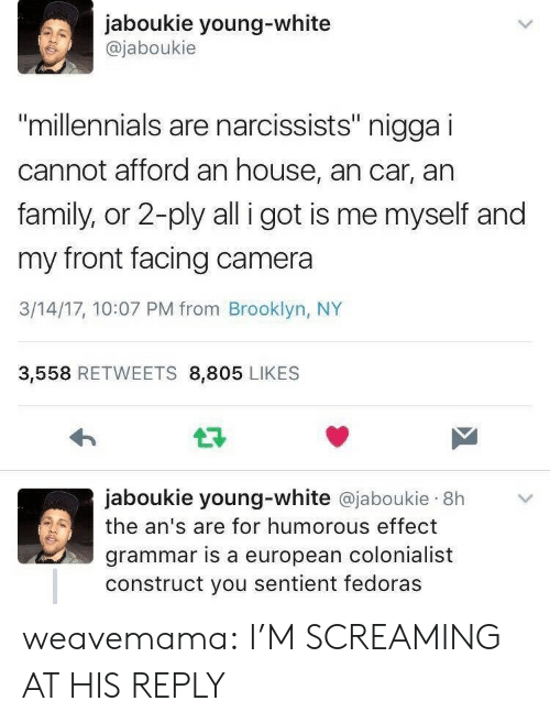 """fedoras: jaboukie young-white  @jaboukie  millennials are narcissists"""" nigga i  cannot afford an house, an car, an  family, or 2-ply all i got is me myself and  my front facing camera  3/14/17, 10:07 PM from Brooklyn, NY  3,558 RETWEETS 8,805 LIKES  jaboukie young-white @jaboukie 8h  the an's are for humorous effect  grammar is a european colonialist  construct you sentient fedoras weavemama: I'M SCREAMING AT HIS REPLY"""