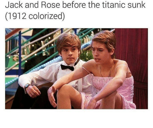 Dank, Titanic, and Rose: Jack and Rose before the titanic sunk  (1912 colorized)