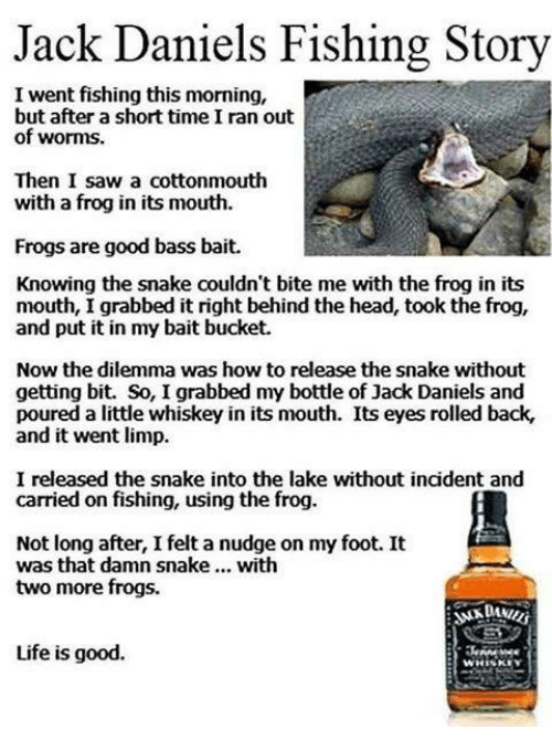Head, Life, and Memes: Jack Daniels Fishing Story  I went fishing this morning,  but after a short time I ran out  of worms.  Then I saw a cottonmouth  with a frog in its mouth.  Frogs are good bass bait.  Knowing the snake couldn't bite me with the frog in its  mouth, I grabbed it right behind the head, took the frog,  and put it in my bait bucket.  Now the dilemma was how to release the snake without  getting bit. So, I grabbed my bottle of Jack Daniels and  poured a little whiskey in its mouth. Its eyes rolled back,  and it went limp.  I released the snake into the lake without incident and  carried on fishing, using the frog.  Not long after, I felt a nudge on my foot. It  was that damn snake with  two more frogs.  Life is good.  WHISKEY