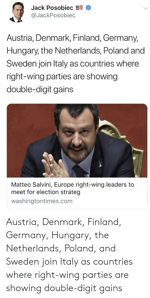 Salvini: Jack Posobiec  @JackPosobiec  Austria, Denmark, Finland, Germany,  Hungary, the Netherlands, Poland and  Sweden join ltaly as countries where  right-wing parties are showing  double-digit gains  Matteo Salvini, Europe right-wing leaders to  meet for election strateg  washingtontimes.com Austria, Denmark, Finland, Germany, Hungary, the Netherlands, Poland, and Sweden join Italy as countries where right-wing parties are showing double-digit gains