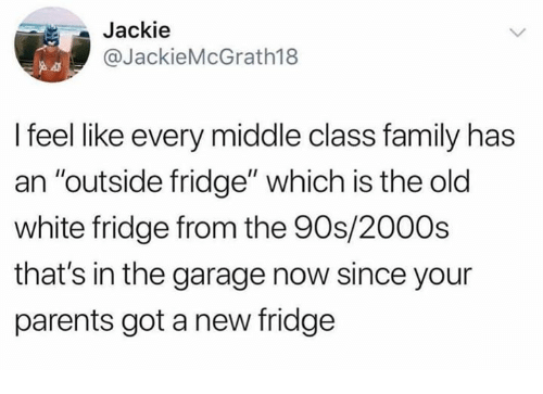 "Dank, Family, and Parents: Jackie  @JackieMcGrath18  I feel like every middle class family has  an ""outside fridge"" which is the old  white fridge from the 90s/2000s  that's in the garage now since your  parents got a new fridge"