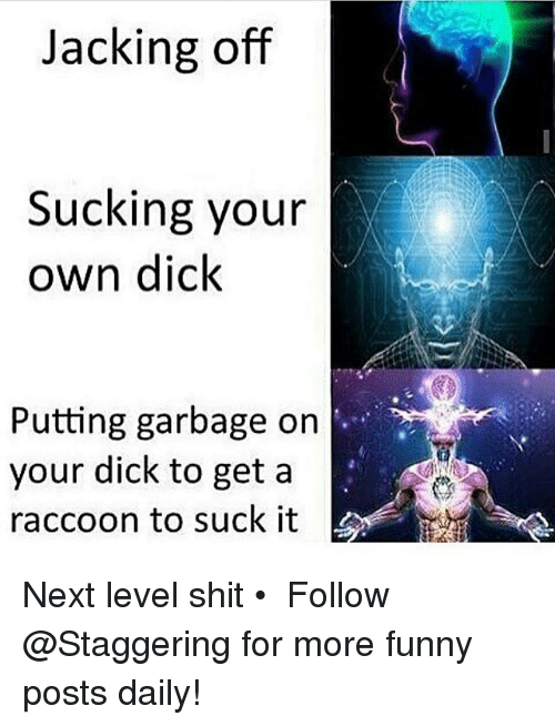 Funny, Jacking Off, and Shit: Jacking off  Sucking your  own dick  Putting garbage on  your dick to get a  raccoon to suck it Next level shit • ➫➫➫ Follow @Staggering for more funny posts daily!