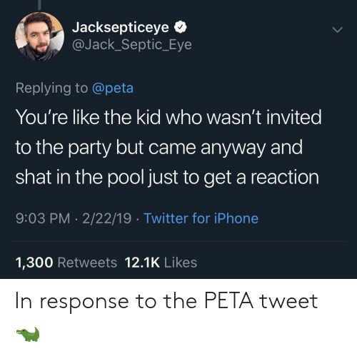 In Response To: Jacksepticeye *  @Jack_Septic_Eye  Replying to @peta  You're like the kid who wasn't invited  to the party but came anyway and  shat in the pool just to get a reaction  9:03 PM 2/22/19 Twitter for iPhone  1,300 Retweets 12.1K Likes In response to the PETA tweet 🐊