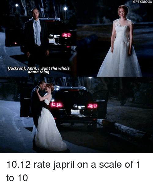 On A Scale Of 1 To 10: Jackson: April, I want the whole  damn thing.  GREYS BOOK 10.12 rate japril on a scale of 1 to 10