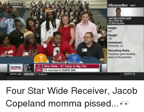 Espn, Memes, and Game: JACOB COPELAND  Height:  Weight  192  Hometown  Pensacola, CA  Recruiting Notes  Possesses game-treaking  speed on the perimeter  ·晃  Ohio State . #1 Class in Big Ten  031 19 recruits in ESPN 300  PAC-12  ESPN 300 TOP ATH O: Auburem Four Star Wide Receiver, Jacob Copeland momma pissed...👀