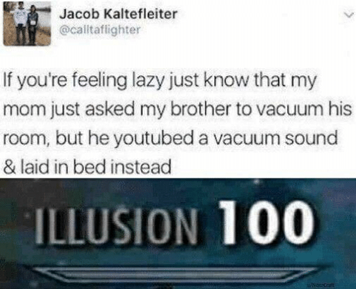 youtubed: Jacob Kaltefleiter  @calltaflighter  If you're feeling lazy just know that my  mom just asked my brother to vacuum his  room, but he youtubed a vacuum sound  & laid in bed instead  ILLUSION 100