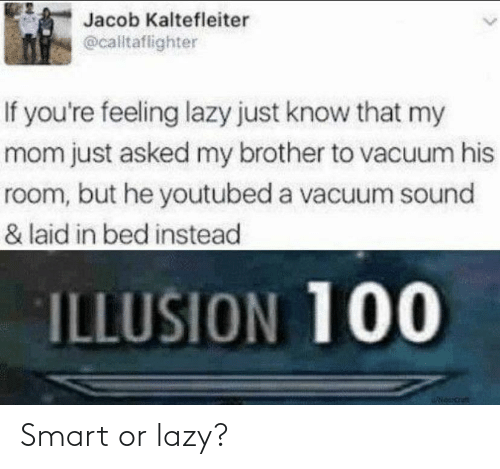 youtubed: Jacob Kaltefleiter  @calltaflighter  If you're feeling lazy just know that my  mom just asked my brother to vacuum his  room, but he youtubed a vacuum sound  & laid in bed instead  ILLUSION 100 Smart or lazy?