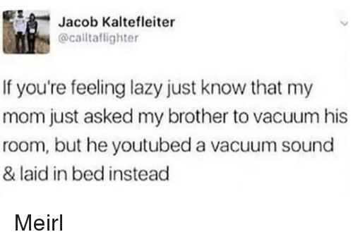 youtubed: Jacob Kaltefleiter  @caltaflighter  If you're feeling lazy just know that my  mom just asked my brother to vacuum his  room, but he youtubed a vacuum sound  & laid in bed instead Meirl