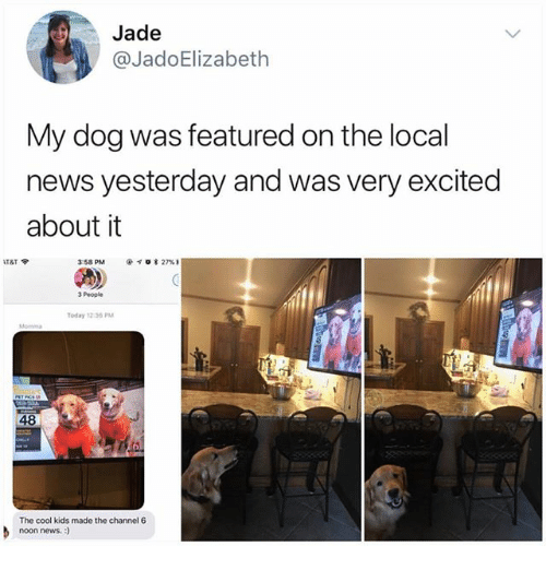 Ironic, News, and Cool: Jade  @JadoElizabeth  My dog was featured on the local  news yesterday and was very excited  about it  3:58 PM  @イσ* 27% 1  3 People  Today 12:36 PM  48  The cool kids made the channel 6  noon news.:)