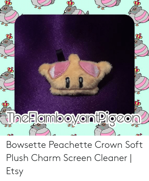 Peachette: JaeFlamboyantPigeon Bowsette Peachette Crown Soft Plush Charm Screen Cleaner | Etsy