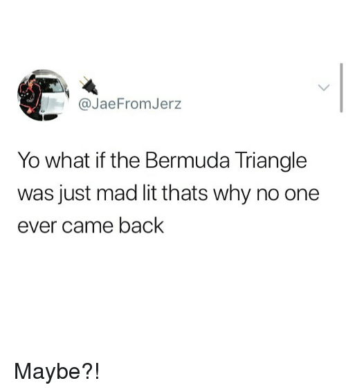 Bermuda Triangle: @JaeFromJerz  Yo what if the Bermuda Triangle  was just mad lit thats why no one  ever came back Maybe?!