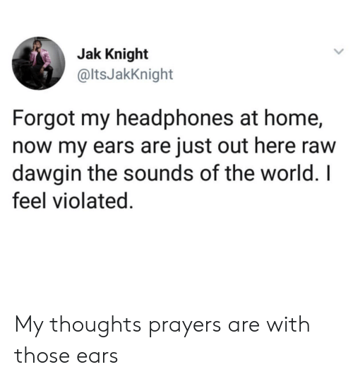 violated: Jak Knight  @ltsJakKnight  Forgot my headphones at home,  now my ears are just out here raw  dawgin the sounds of the world. I  feel violated. My thoughts  prayers are with those ears