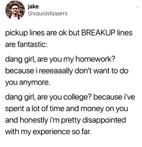 pickup lines: jake  @squidslippers  pickup lines are ok but BREAKUP lines  are fantastic:  dang girl, are you my homework?  because i reeeaaally don't want to do  you anymore.  dang girl, are you college? because i've  spent a lot of time and money on you  and honestly i'm pretty disappointed  with my experience so far.