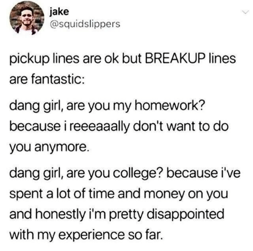 breakup: jake  @squidslippers  pickup lines are ok but BREAKUP lines  are fantastic:  dang girl, are you my homework?  because i reeeaaally don't want to do  you anymore  dang girl, are you college? because i've  spent a lot of time and money on you  and honestly i'm pretty disappointed  with my experience so far.