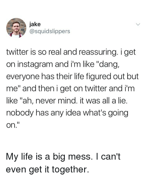"reassuring: jake  @squidslippers  twitter is so real and reassuring. i get  on instagram and i'm like ""dang,  everyone has their life figured out but  me"" and then i get on twitter and i'm  like ""ah, never mind. it was all a lie.  nobody has any idea what's going  on."" My life is a big mess. I can't even get it together."