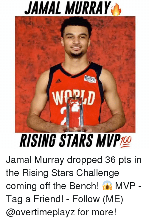 Anaconda, Memes, and Jamal Murray: JAMAL MURRAY  RISING STARS MVP  100 Jamal Murray dropped 36 pts in the Rising Stars Challenge coming off the Bench! 😱 MVP - Tag a Friend! - Follow (ME) @overtimeplayz for more!