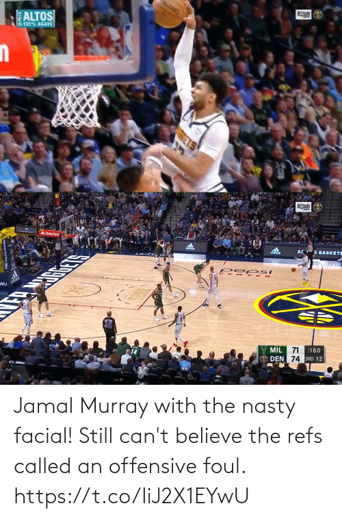Cant Believe: Jamal Murray with the nasty facial! Still can't believe the refs called an offensive foul. https://t.co/IiJ2X1EYwU