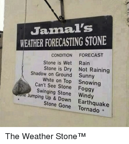raining: Jamal's  WEATHER FORECASTING STONE  CONDITION FORECAST  Stone is Wet Rairn  Stone is Dry Not Raining  Sunny  Snowing  Shadow on Ground  White on Top  Can't See Stone Foggy  Swinging Stone Windy  Jumping Up & Down  Earthquake  Stone Gone Tornado The Weather Stone™