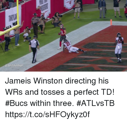bucs: Jameis Winston directing his WRs and tosses a perfect TD!  #Bucs within three. #ATLvsTB https://t.co/sHFOykyz0f