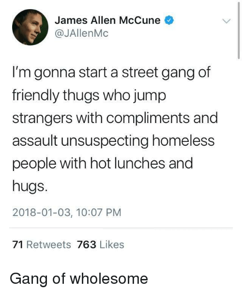 thugs: James Allen McCune  @JAllenMc  I'm gonna start a street gang of  friendly thugs who jump  strangers with compliments and  assault unsuspecting homeless  people with hot lunches and  hugs.  2018-01-03, 10:07 PM  71 Retweets 763 Likes Gang of wholesome