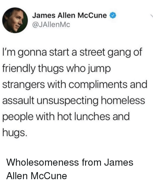 thugs: James Allen McCune  @JAllenMc  I'm gonna start a street gang of  friendly thugs who jump  strangers with compliments and  assault unsuspecting homeless  people with hot lunches and  hugs. Wholesomeness from James Allen McCune