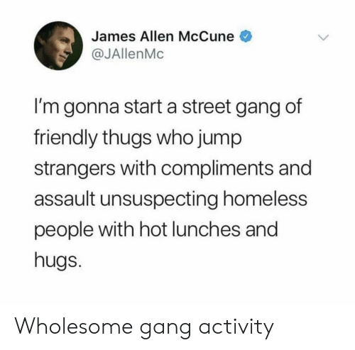 thugs: James Allen McCune  @JAllenMc  I'm gonna start a street gang of  friendly thugs who jump  strangers with compliments and  assault unsuspecting homeless  people with hot lunches and  hugs. Wholesome gang activity