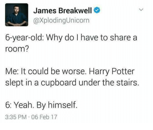 it could be worse: James Breakwell  CaxplodingUnicorn  6-year-old: Why do I have to share a  room?  Me: It could be worse. Harry Potter  slept in a cupboard under the stairs.  6: Yeah. By himself.  3:35 PM 06 Feb 17