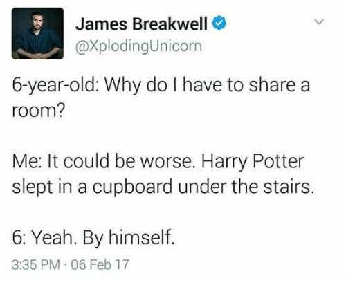 it could be worse: James Breakwell  @XplodingUnicorn  6-year-old: Why do I have to share a  room?  Me: It could be worse. Harry Potter  slept in a cupboard under the stairs.  6: Yeah. By himself.  3:35 PM 06 Feb 17