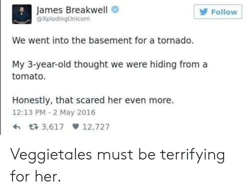 VeggieTales: James Breakwell  XplodingUnicorn  Follow  We went into the basement for a tornado.  My 3-year-old thought we were hiding from a  tomato.  Honestly, that scared her even more.  12:13 PM 2 May 2016  3,617 12,727 Veggietales must be terrifying for her.