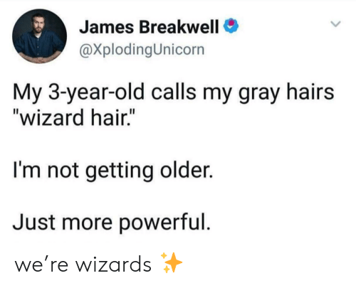 """Getting Older: James Breakwell  @XplodingUnicorn  My 3-year-old calls my gray hairs  """"wizard hair.""""  I'm not getting older.  Just more powerful we're wizards ✨"""