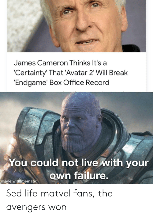 Certainty: James Cameron Thinks It's a  'Certainty' That 'Avatar 2' Will Break  'Endgame' Box Office Record  You could not live with your  own failure.  made with mematic Sed life matvel fans, the avengers won