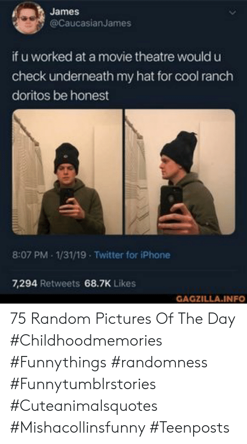 doritos: James  @CaucasianJames  if u worked at a movie theatre would u  check underneath my hat for cool ranch  doritos be honest  8:07 PM 1/31/19 Twitter for iPhone  7,294 Retweets 68.7K Likes  GAGZILLA.INFO 75 Random Pictures Of The Day #Childhoodmemories #Funnythings #randomness #Funnytumblrstories #Cuteanimalsquotes #Mishacollinsfunny #Teenposts