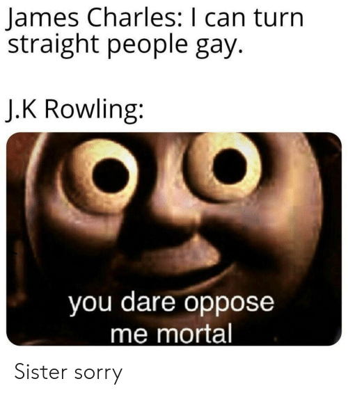 rowling: James Charles: I can turn  straight people gay.  J.K Rowling:  you dare oppose  me mortal Sister sorry