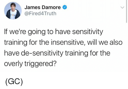 Memes, 🤖, and James: James Damore  @Fired4Truth  If we're going to have sensitivity  training for the insensitive, will we also  have de-sensitivity training for the  overly triggered? (GC)