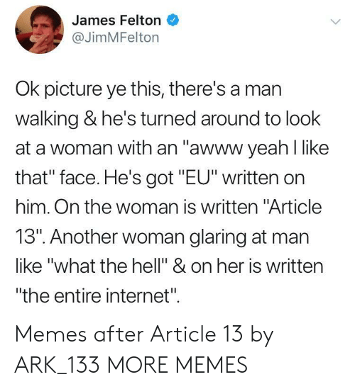 """Glaring: James Felton  @JimMFelton  Ok picture ye this, there's a mar  walking & he's turned around to look  at a woman with an """"awww yeah l like  that"""" face. He's got """"EU"""" written on  him. On the woman is written """"Article  13"""". Another woman glaring at man  like """"what the hell"""" & on her is written  """"the entire internet"""". Memes after Article 13 by ARK_133 MORE MEMES"""