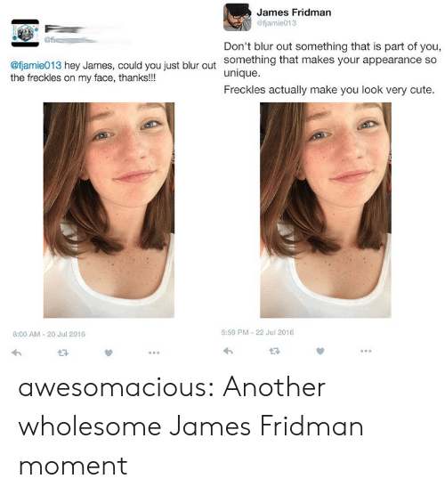 Fjamie013: James Fridman  @fjamie013  Don't blur out something that is part of you,  something that makes your appearance so  unique.  Freckles actually make you look very cute.  @fjamie013 hey James, could you just blur out  the freckles on my face, thanks!!!  8:00 AM-20 Jul 2016  5:59 PM-22 Jul 2016  13 awesomacious:  Another wholesome James Fridman moment