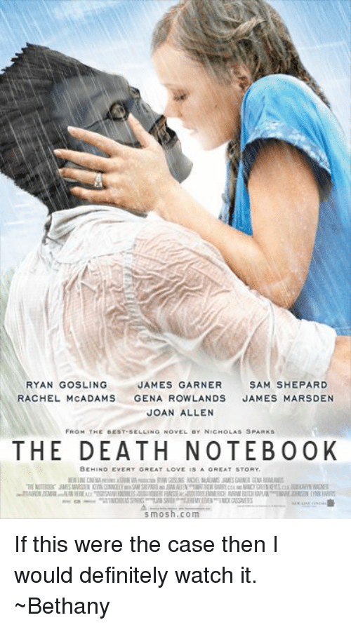 Definitely, Memes, and Notebook: JAMES GARNER  SAM SHEPARD  RYAN GOSLING  RACHEL MCADAMS  GENA ROWLANDS  JAMES MARSDEN  JOAN ALLEN  FROM THE BEST SELLING NOVEL er NICHOLAS SPARKs  THE DEATH NOTEBOOK  BEHIND EVERY GREAT LOVE  smosh.com If this were the case then I would definitely watch it. ~Bethany