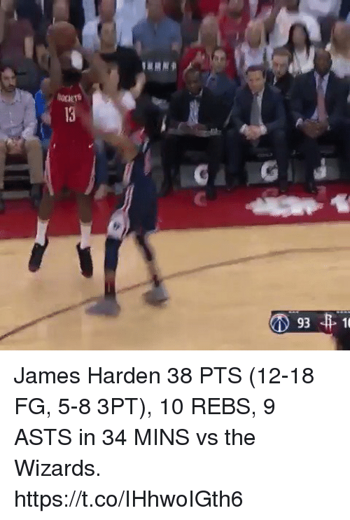 Sizzle: James Harden 38 PTS (12-18 FG, 5-8 3PT), 10 REBS, 9 ASTS in 34 MINS vs the Wizards.   https://t.co/IHhwoIGth6