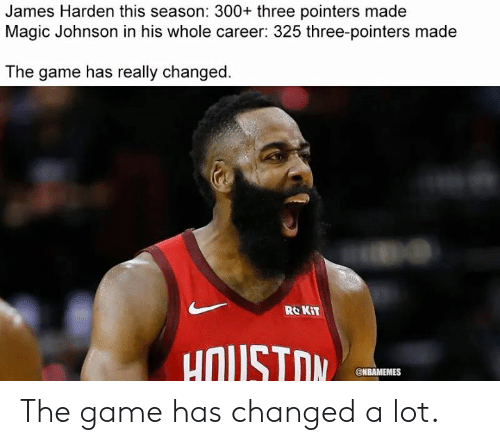 Magic Johnson: James Harden this season: 300+ three pointers made  Magic Johnson in his whole career: 325 three-pointers made  The game has really changed.  RO KIT  uOUSTOM  @NBAMEMES The game has changed a lot.