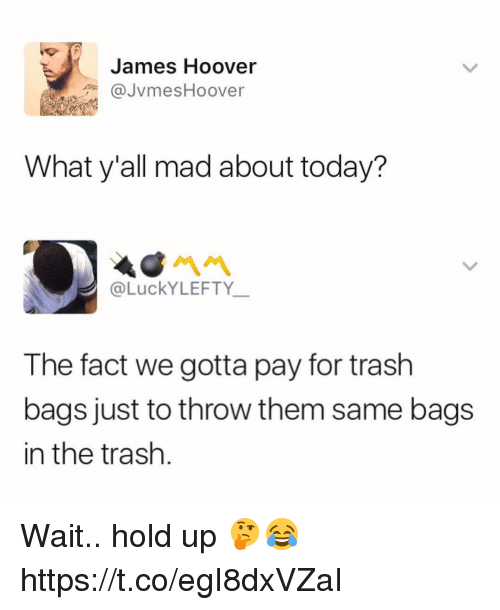 Memes, Trash, and Today: James Hoover  JvmesHoover  What y'all mad about today?  @LuckYLEFTY  The fact we gotta pay for trash  bags just to throw them same bags  in the trash Wait.. hold up 🤔😂 https://t.co/egI8dxVZaI