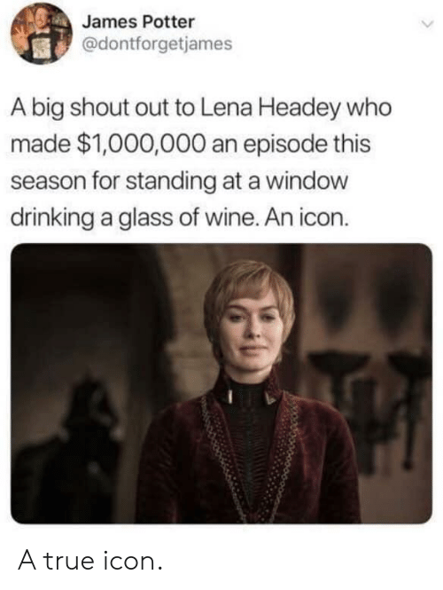 Lena: James Potter  @dontforgetjames  A big shout out to Lena Headey who  made $1,000,000 an episode this  season for standing at a windovw  drinking a glass of wine. An icon. A true icon.