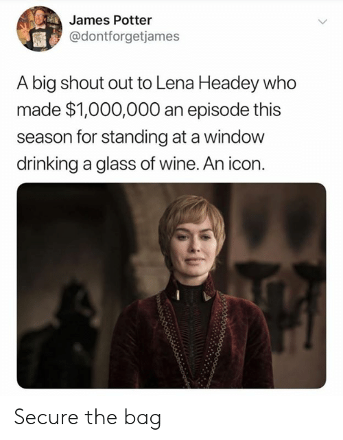Lena: James Potter  @dontforgetjames  A big shout out to Lena Headey who  made $1,000,000 an episode this  season for standing at a window  drinking a glass of wine. An icon Secure the bag