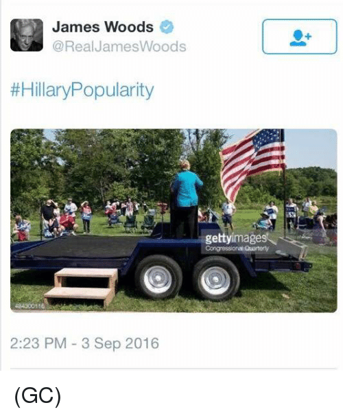 Memes, James Woods, and 🤖: James Woods  Real James Woods  #Hillary Popularity  2:23 PM 3 Sep 2016  gettyimages (GC)