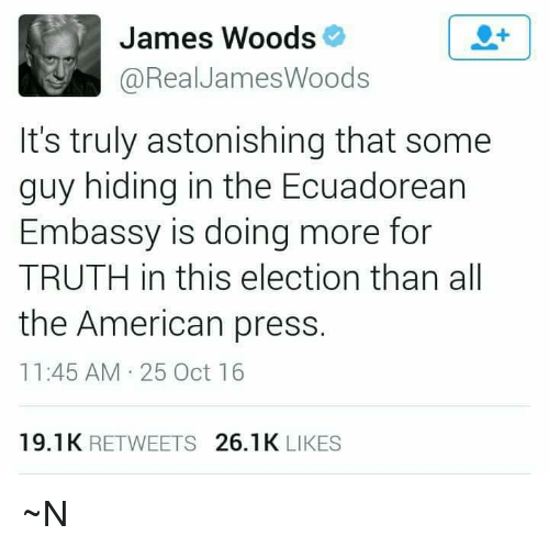 Memes, American, and Astonishing: James Woods  @Real James Woods  It's truly astonishing that some  guy hiding in the Ecuadorean  Embassy is doing more for  TRUTH in this election than all  the American press  11:45 AM 25 Oct 16  19.1K  RETWEETS  26.1 K  LIKES ~N