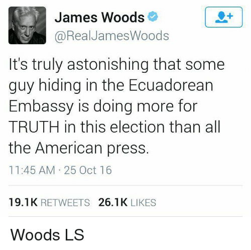 Memes, American, and Astonishing: James Woods  @Real James Woods  It's truly astonishing that some  guy hiding in the Ecuadorean  Embassy is doing more for  TRUTH in this election than all  the American press  11:45 AM 25 Oct 16  19.1 K  RETWEETS  26.1 K  LIKES Woods LS