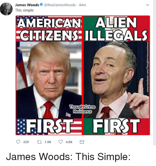 Alien, American, and Conservative: James Woods@RealJamesWoods-44m  This simple:  AMERICAN ALIEN  CITIZENS ILLEGALS  oughtCrime  Resistance  EIRSTE FIRST  0229 ロ1.9K 4.0K James Woods: This Simple: