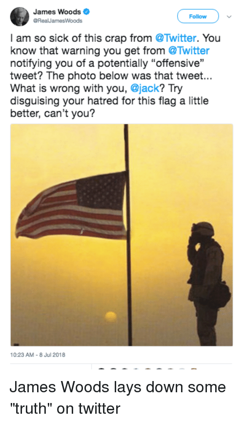 "Lay's, Twitter, and What Is: James Woods  RealJamesWoods  Follow  I am so sick of this crap from @Twitter. You  know that warning you get from @Twitter  notifying you of a potentially ""offensive""  tweet? The photo below was that tweet...  What is wrong with you, @jack? Try  disguising your hatred for this flag a little  better, can't you?  10:23 AM-8 Jul 2018 James Woods lays down some ""truth"" on twitter"
