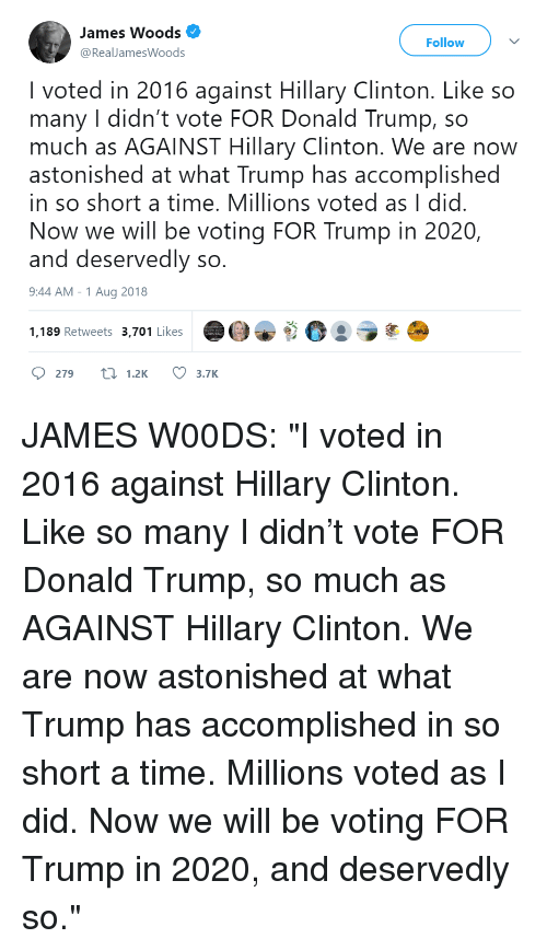 Donald Trump, Hillary Clinton, and Time: James Woods  @RealJamesWoods  Follow  I voted in 2016 against Hillary Clinton. Like so  many I didn't vote FOR Donald Trump, so  much as AGAINST Hillary Clinton. We are now  astonished at what Trump has accomplished  in so short a time. Millions voted as I did  Now we will be voting FOR Trump in 2020,  and deservedly so  9:44 AM -1 Aug 2018  1,189 Retweets 3,701 Likes  :ラ  279 t 1.2K 3.7K