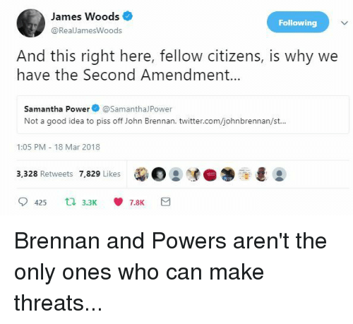 Twitter, Good, and Power: James Woods  @RealJamesWoods  Following  And this right here, fellow citizens, is why we  have the Second Amendment...  Samantha Power o @SamanthalPower  Not a good idea to piss off John Brennan, twitter.com/johnbrennan/st..  1:05 PM 18 Mar 2018  3,328 Retweets 7,829 Likes  dee:  .  425 t3.37.8K