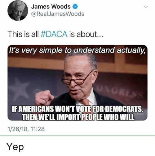 James Woods, Simple, and Who: James Woods  @RealJamesWoods  This is all #DACA is about.  It's very simple to understand actually,  IFAMERICANS WONT VOTE FOR DEMOCRATS  THEN WELL IMPORT PEOPLE WHO WILL  1/26/18, 11:28 Yep